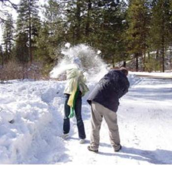 Idaho snowball fight (dad gets his!)