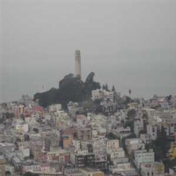 Coit Tower rainy SF December day - vici ca