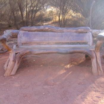 Wooden seat at Ayer's Rock, Central Oz, N.T. - Wendy/Perth