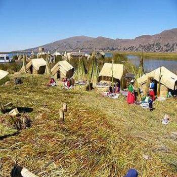 Floating reed island on Lake Titicaca, Puno, Peru