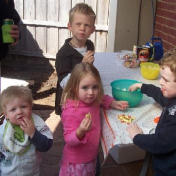Jack & Lachie with cousins Coby & Kiara all milled around the party food